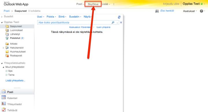 """1. Mene sähköpostiin ja klikkaa """"SkyDrive""""."""